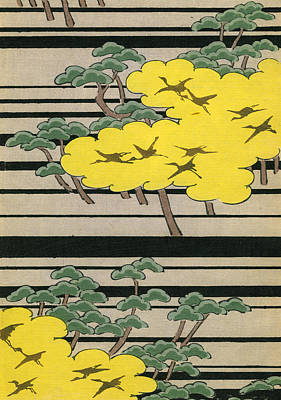 Stork Drawing - Vintage Japanese Illustration Of An Abstract Forest Landscape With Flying Cranes by Japanese School