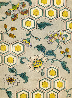 Vintage Japanese Illustration Of Blossoms On A Honeycomb Background Print by Japanese School