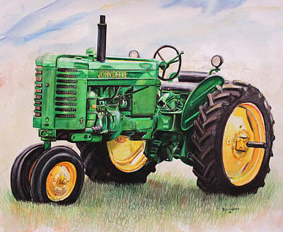 Tractor Painting - Vintage John Deere Tractor by Toni Grote