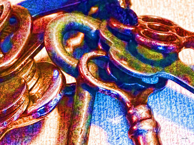 Keys Photograph - Vintage Keys Pop Art by Lesa Fine