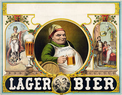 Beer Drawing - Vintage Lager Beer Advertisement by CartographyAssociates