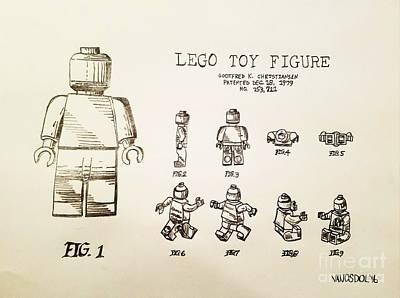 Vintage Lego Toy Figure Patent - Graphite Pencil Sketch Original by Scott D Van Osdol