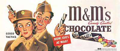 Candy Painting - Vintage M M Candy For The Military by MotionAge Designs