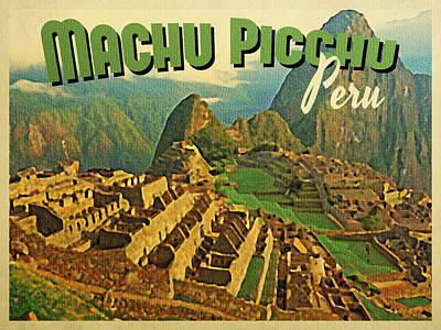 Inca Digital Art - Vintage Machu Picchu Peru by Flo Karp