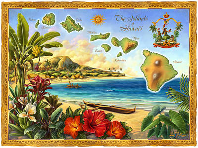 Banana Mixed Media - Vintage Map Of Hawaii by Anne Wertheim