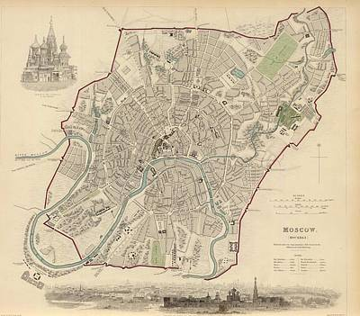 Moscow Drawing - Vintage Map Of Moscow - 1836 by CartographyAssociates