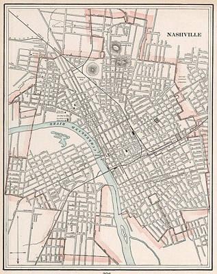 Nashville Drawing - Vintage Map Of Nashville Tennessee - 1901 by CartographyAssociates