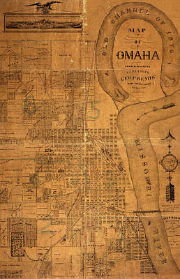 Vintage Map Of Omaha Nebraska 1878 Print by Design Turnpike