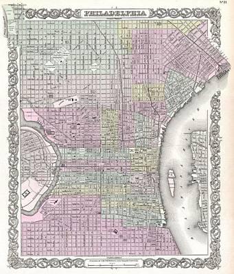 Philadelphia History Drawing - Vintage Map Of Philadelphia by CartographyAssociates