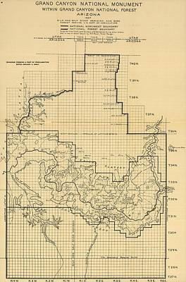 Grand Canyon Drawing - Vintage Map Of The Grand Canyon - 1908 by CartographyAssociates