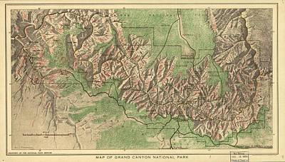 Grand Canyon Drawing - Vintage Map Of The Grand Canyon - 1926 by CartographyAssociates