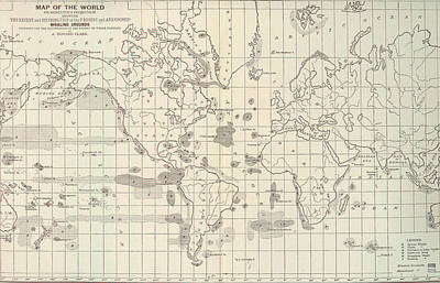 Whaling Drawing - Vintage Map Of The World Whaling Grounds - 1880 by Adam Shaw