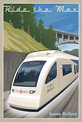 Transportation Digital Art - Vintage Max Light Rail Travel Poster by Mitch Frey