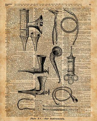 Vintage Medical Kits,ear Instruments,surgery Decoration,dictionary Art,zombie Apocalypse,halloween Print by Jacob Kuch