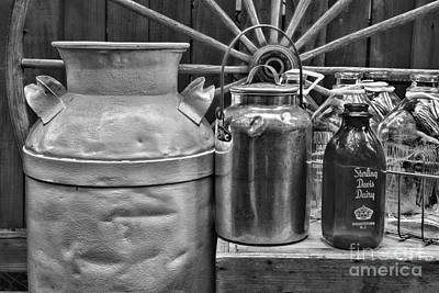 Got Milk Photograph - Vintage Milk In Black And White by Paul Ward