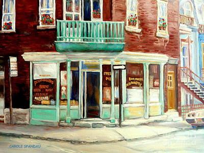 Depanneur Painting - Vintage Montreal Bakery Montreal Street Scene Painting Canadian Art Carole Spandau                   by Carole Spandau