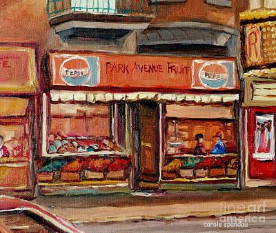 Montreal Storefronts Painting - Vintage Montreal Fruit Shop Ave Du Parc Montreal City Scene Painting Canadian Art Carole Spandau     by Carole Spandau