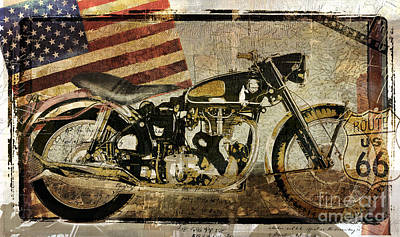 Americana Painting - Vintage Motorcycle Road Demon by Mindy Sommers