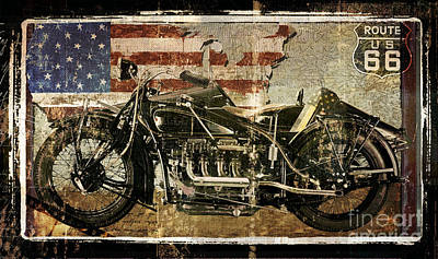 Road Travel Painting - Vintage Motorcycle Unbound by Mindy Sommers