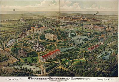 Nashville Drawing - Vintage Nashville Centennial Park Map - 1897 by CartographyAssociates
