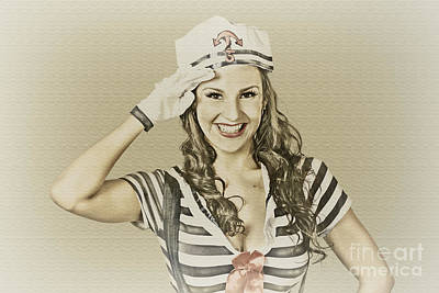 Vintage Navy Sailor Pin Up Girl  Print by Jorgo Photography - Wall Art Gallery