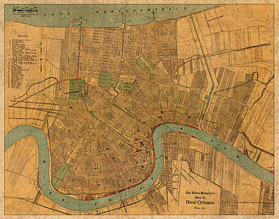 Louisiana Mixed Media - Vintage New Orleans Louisiana Street Map 1919 Retro Cartography Print On Worn Canvas by Design Turnpike