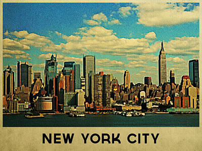Empire State Digital Art - Vintage New York City Skyline by Flo Karp