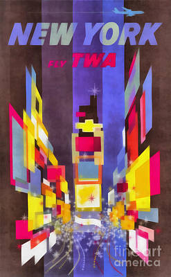 Times Square Digital Art - Vintage New York Fly Twa Times Square by Edward Fielding
