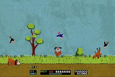 Vintage Video Game Mixed Media - Vintage Nintendo Nes Duck Hunt Game Scene by Design Turnpike