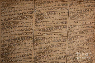 Vintage Old Classified Newspaper Ads Print by Edward Fielding