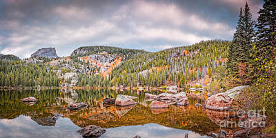 Vintage Panorama Of Bear Lake In The Fall - Rocky Mountain National Park Estes Park Colorado Print by Silvio Ligutti