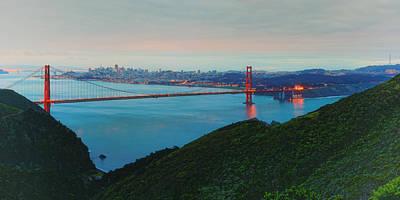Vintage Panorama Of The Golden Gate Bridge From The Marin Headlands - San Francisco California Print by Silvio Ligutti