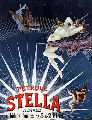 People Drawing - Vintage Petrole Stella Poster by Henri Boulanger