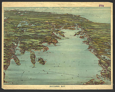 Buzzard Drawing - Vintage Pictorial Map Of Buzzards Bay  by CartographyAssociates