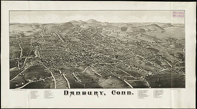 Vintage Pictorial Map Of Danbury Ct - 1884 Print by CartographyAssociates