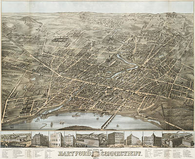 Vintage Pictorial Map Of Hartford Ct - 1877 Print by CartographyAssociates