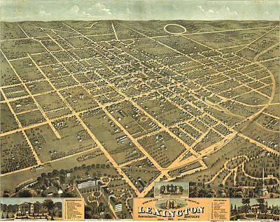 Lexington Drawing - Vintage Pictorial Map Of Lexington Kentucky - 1871  by CartographyAssociates