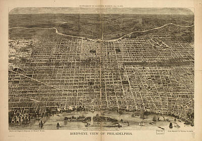 Philadelphia History Drawing - Vintage Pictorial Map Of Philadelphia - 1872 by CartographyAssociates