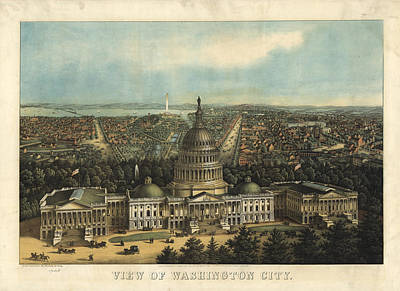 Washington D.c Drawing - Vintage Pictorial Map Of Washington D.c. - 1871 by CartographyAssociates