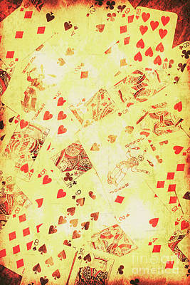 Joker Photograph - Vintage Poker Background by Jorgo Photography - Wall Art Gallery