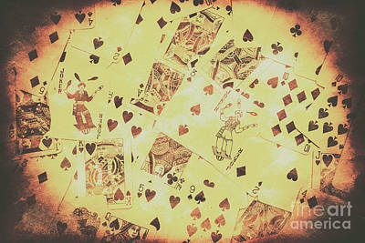 Playing Cards Photograph - Vintage Poker Card Background by Jorgo Photography - Wall Art Gallery