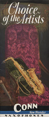 Saxophone Drawing - Vintage Poster by American School