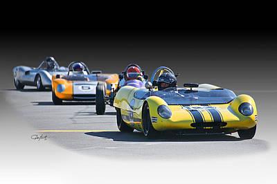 Lotus Racecar Photograph - Vintage Racecar 'home Stretch' by Dave Koontz