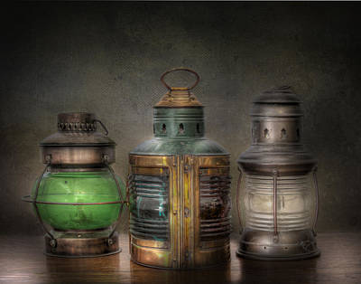 Vintage Lamp Photograph - Vintage Railroad Oil Lamps by David and Carol Kelly