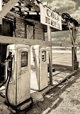 Gas Station Painting - Vintage Retro Gas Pumps by Mindy Sommers