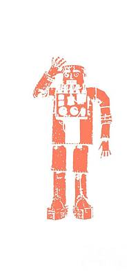 T-shirt Designs Drawing - Vintage Robot Tee by Edward Fielding
