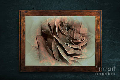 Vintage Rose On Old Wall 2 By Kaye Menner Print by Kaye Menner
