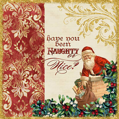 Glitter Painting - Vintage Santa Claus - Glittering Christmas 1 by Audrey Jeanne Roberts