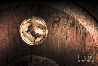 Vintage Scotch Whisky On Wooden Tabletop Print by Jorgo Photography - Wall Art Gallery