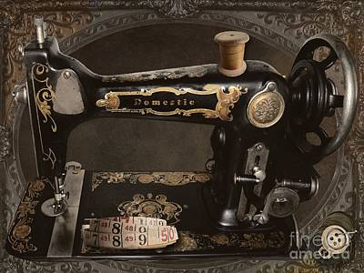 Seamstress Painting - Vintage Sewing Machine by Mindy Sommers